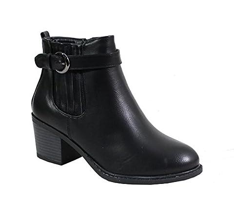 By Shoes - Bottine Talon Carré Style Cuir - Femme - Taille 39 - Black