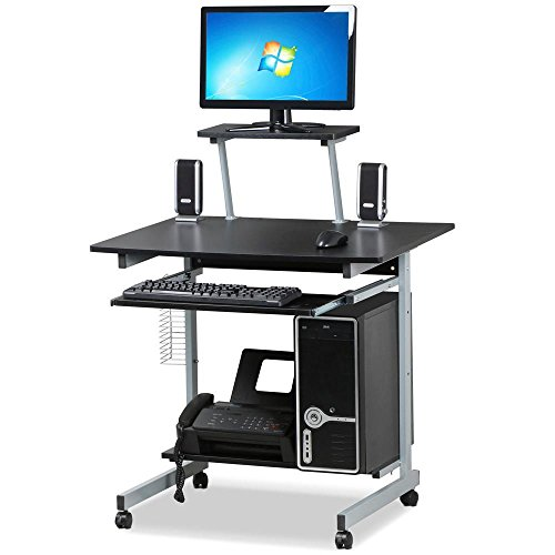 Yaheetech Schreibtisch mit CD Regal Computertisch schwarz PC Tisch mit 4 Rollen 80 x 60 x 100 cm - Cd-ablage Tisch