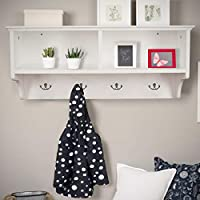 Home Source White Coat Hook Wall Mounted Hallway Unit 2 Open Shelves, Wooden, (W) 60cm (D) 20cm (H) 27cm