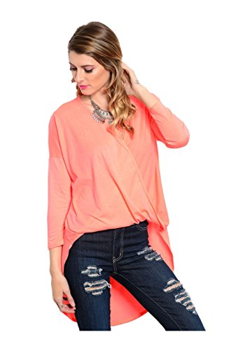 2LUV Damen Bluse Gr. M, Rot - T7747_Coral (Knit Top Draped)