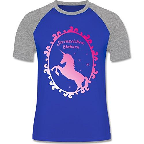 Statement Shirts - Sternzeichen: Einhorn - zweifarbiges Baseballshirt für Männer Royalblau/Grau meliert