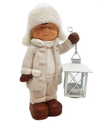 Wichtelstube-Kollektion XL Deko Figur Winterkinder Junge Weihnachtsfigur 28cm Keramikfigur Weihnachten Gartenfigur