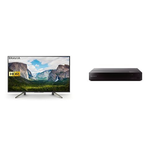 Sony Bravia KDL50WF663 50 Inch Full HD HDR Smart TV with Freeview Play, Black, 2018 + Smart Blu-Ray and DVD Player with Wi-Fi and Built-In Apps (2016 Model), Black