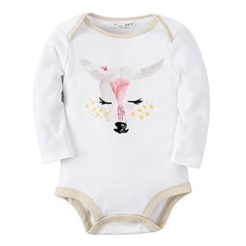 Sanlutoz Mädchen Langarm Body Baumwolle Wickelbody Strampelhöschen (0–6 Monate, R13 DEER) (Prinzessin Gekräuselten)