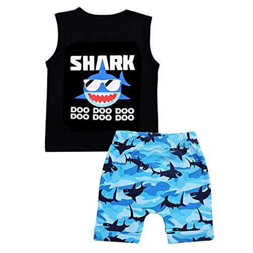 Winkey Kinderanzug, Kleinkind Junge Kind Cartoon niedlichen Humor Ocean Shark Brief Weste T-Shirt Top + Shorts Set