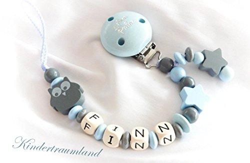 Preisvergleich Produktbild Schnullerkette mit Namen, Eule, Blume, Junge, Kleiner Prinz, blau, grau, Sterne, Taufe (Babyblau, Kleiner Prinz)