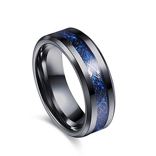 Jajafook 8mm nero tungsteno anello argentatura dragone celtico blu in fibra di carbonio, con fascia da uomo, taglia 7–12 e acciaio inossidabile, 69 (22.0), colore: blue, cod. th-1012026