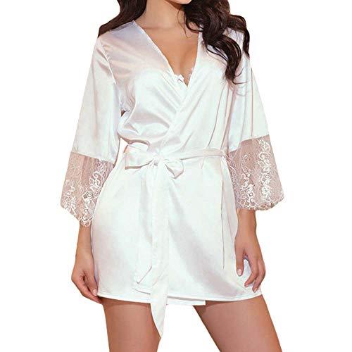 MERICAL Damen Spitze Patchwork Langarm Nachthemd Kimono Satin Schwarz Roben(EU:40/CN:M,Weiß) - Langarm Nachthemd Thermo