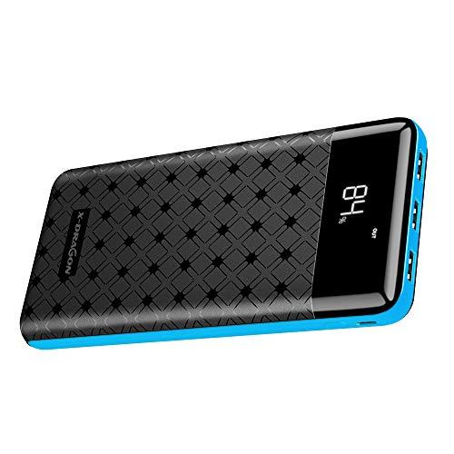 X-DRAGON 25000mAh Powerbank Tragbares Externer Akku Ladegerät mit 3 USB Ausgängen und Zwei Eingängen, LCD-Display für Handy, iPhone, Samsung, Huawei, Xiaomi und Mehr(Blau)