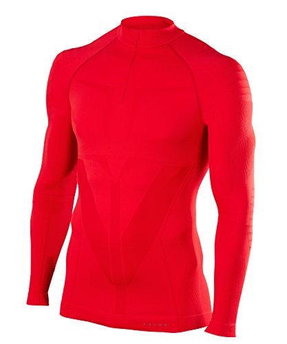 FALKE Herren Warm Zip Shirt Tight Fit Men Sportunterwäsche, Scarlet, L (Tight Shirt)