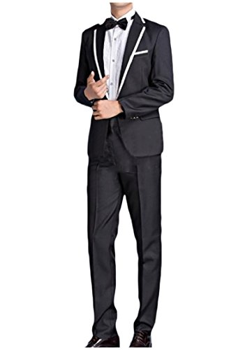 CuteRose Men Casual Solid Color Stage Clothes Blazer Jacket Suit Pants Black M (Mens Winter Coats Big And Tall)