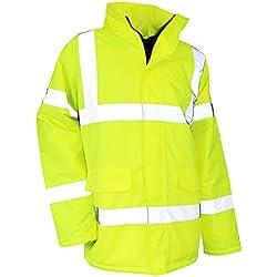 LMA 5019Surete–Parka alta visibilidad impermeable/cortavientos capucha integrada en el cuello, amarillo neón, talla 5