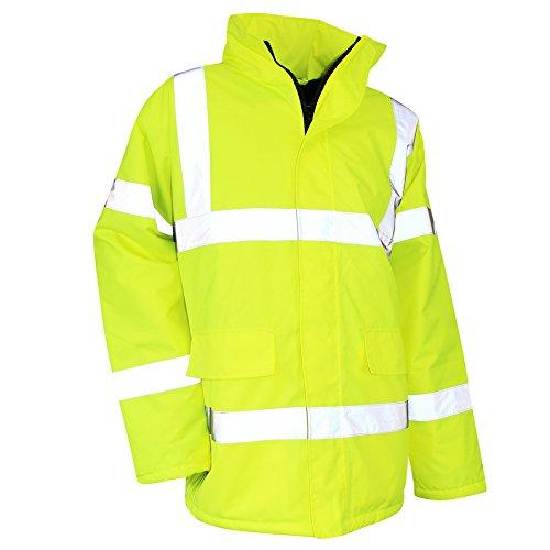 Lma 5019surete parka alta visibilità impermeabile/antivento cappuccio integrato nel collo, giallo fluo, taglia 6