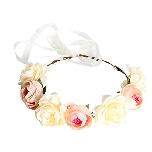 Lindahaot Frauen Boho Blumen-Stirnband Haarkranz Halo Blumengirlande Kopfstück für Hochzeit Feste Khaki 46cm
