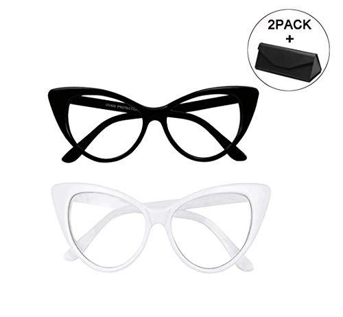 bset buy Mode Katzenaugen Frame Brille Klare Linse Brille,Leicht, Unisex, Schwarz, Weiß,2 Paar und Brillenbox
