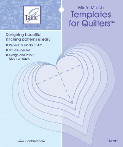 June Tailor Mix'n Match Templates For Quilters 6/Pkg-Heart - Mix Plus Match