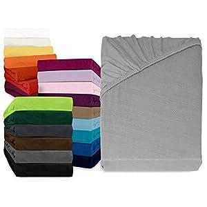 npluseins klassisches Jersey Spannbetttuch - erhältlich in 34 modernen Farben und 6 verschiedenen Größen - 100% Baumwolle, 140-160 x 200 cm, Silber