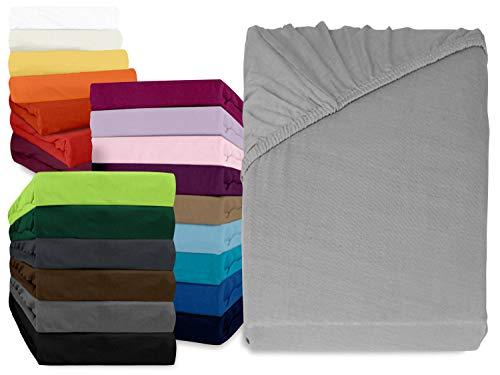 npluseins klassisches Jersey Spannbetttuch - erhältlich in 34 modernen Farben und 6 verschiedenen Größen - 100% Baumwolle, 90-100 x 200 cm, silber