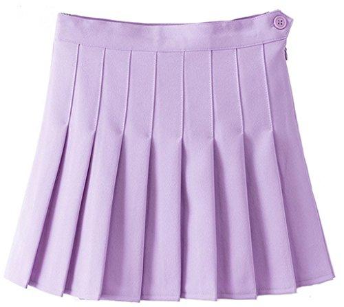 Y-BOA Courte Jupe-Short Tennis Plissée Skort Femme Fille Taille Haute Mauve
