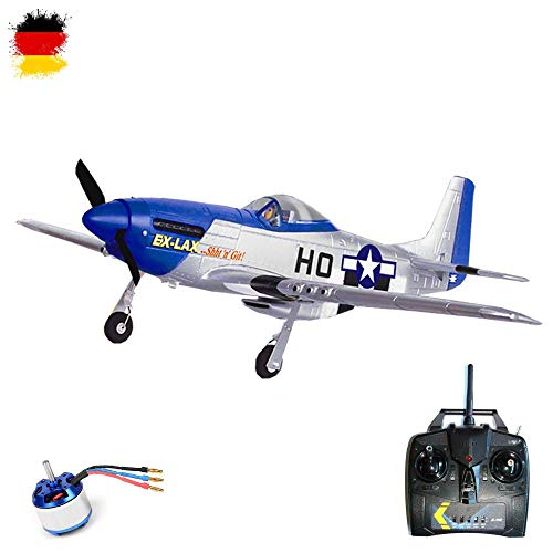-51D Brushless Edition - RC ferngesteuertes Flugzeug mit 2.4GHz und Einer Spannweite von 750mm, 4-Kanal Flugmodell Jagdflieger Komplett-Set RTF ()