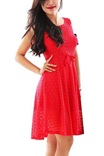 YMING Frauen Jahrgang zur Arbeit tragen beiläufige Strench Spitze Midi-Kleid, Rot, (Einfach Kostüme Sevens)