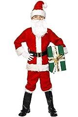 Idea Regalo - SMIFFYS Costume e barba Babbo Natale deluxe, rosso, con giacca, pantaloni, cintura, capp