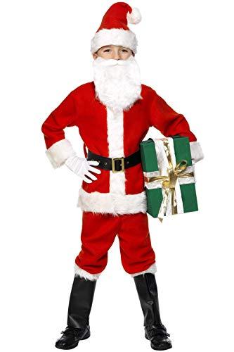 Smiffys, Kinder Jungen Weihnachtsmann Kostüm, Jacke, Hose, Gürtel, Mütze, Handschuhe, Überstiefel und Bart, Größe: M, 34584 -