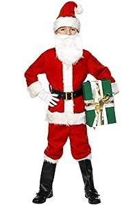 Smiffys-34584L Disfraz de Santa, con Chaqueta, pantalón, cinturón, Gorro, Guantes, Fundas, Color Rojo, L-Edad 10-12 años (Smiffy