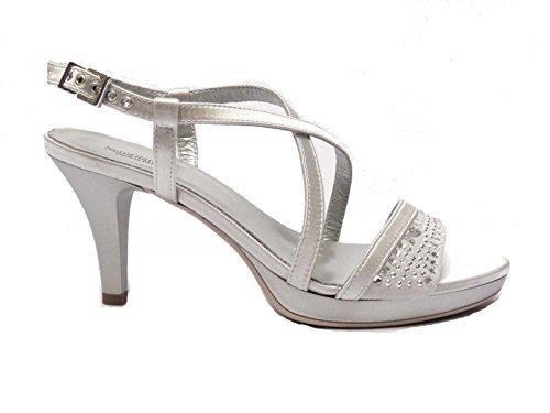 Nero Giardini sandali da donna in raso/camoscio col. Argento tacco cm. 8 plateau cm. 2, num. 37
