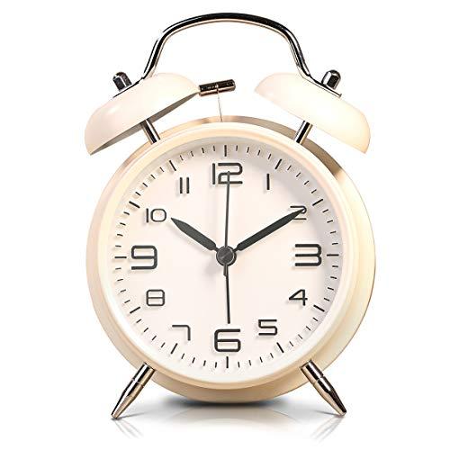 """LATEC Doppelglockenwecker mit Nachtlicht, 4\"""" Stereoskopisches Zifferblatt, Batteriebetrieben Lauter Alarm, kein Ticken, geräuschlos, Retro Glockenwecker, Quarzlaufwerk (Weiß)"""