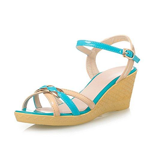 Die Slope mit weiblichen High-Heels-Sandalen im Sommer Sandalen oder Slope mit Mode Color Tower Sandalen Blue