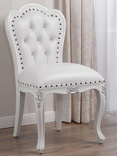 Sillón silla blanco lacado detalles hoja plateada sintética blanca botones Swarovski ¸