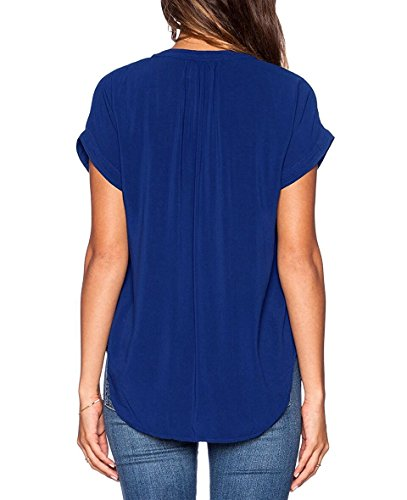 ASCHOEN Damen Casual Bluse Chiffon Shirt Oberteil Tops T-Shirt Blau
