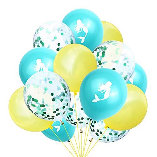 Globos de sirena, globos de confeti Geila Suministros para fiesta de cumpleaños Globos de colores brillantes Fiesta infantil Aniversario de bodas Celebración de cumpleaños Decoración (amarillo + azul)