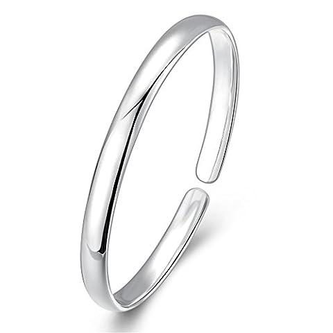 Hmilydyk Fashion 925Bijoux Femme classique Argent Massif Bracelet lisse ouvert Charm Statement Bracelets