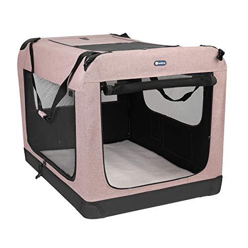 "Veehoo Folding Soft Dog Crate, 3-Door Pet Kennel for Crate-Training Dogs, 5 x Heavy-Weight Mesh Screen, 600D Cationic Oxford Fabric, Indoor & Outdoor Use, 40"", Beige Coffee"
