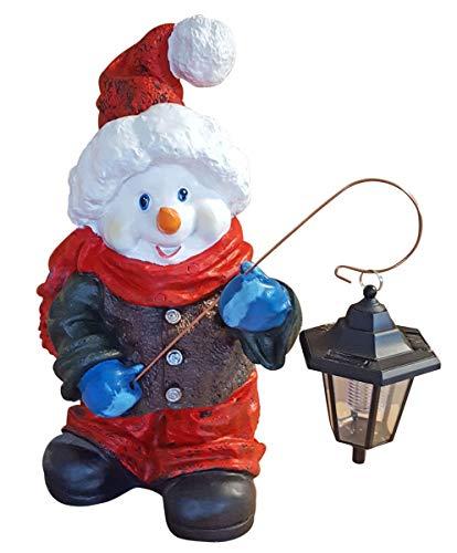 Fachhandel Plus Schneemann mit Wintermütze und LED Solar Laterne Dekofigur Weihnachten Weihnachtsdeko -