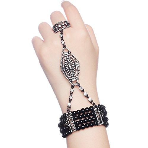 Armband Set Retro 1920er Party Pailetten und Imitation Perlen Verbunden Ring und Armband Inspiriert von The Great Gatsby Bling Mode Schmuck (Schwarz) (Gatsby-mode Frauen)