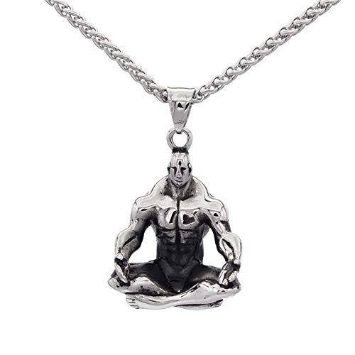 L&H Herren Edelstahl Anhänger Halskette Sport Mode Yoga Meditation Riesen Modellierung Hip Hop Schmuck Geschenk für den Vatertag