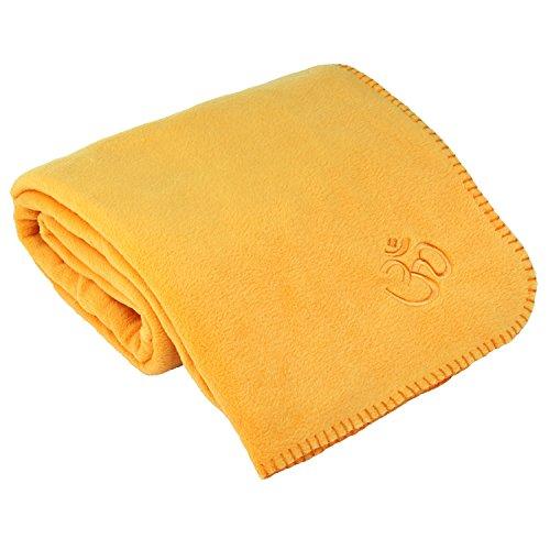 Yoga Asana Blanket, Plaid pour savasana, couverture en polaire avec broderie Om, 140x 200cm