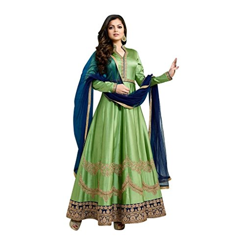 SM Beauty Collection Women\'s Heavy Silk Anarkali Gown (Free Size_Semi Stitched)