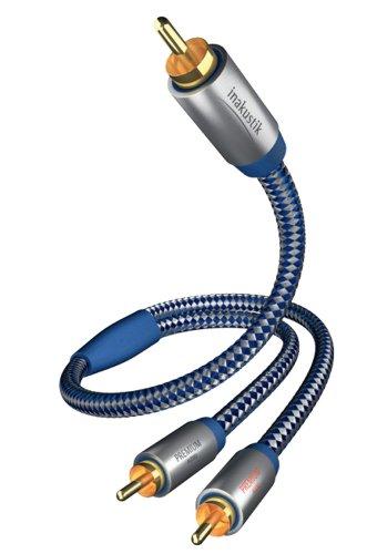 in-akustik - 0040805 - Premium Y-Subwooferkabel | Für kraftvollen und dynamischen Bass dank eines hohen Kupfergehaltes | 5,0m in Blau/Silber | 2-fache Abschirmung - Vollmetallstecker - moderner Geflechtschirm