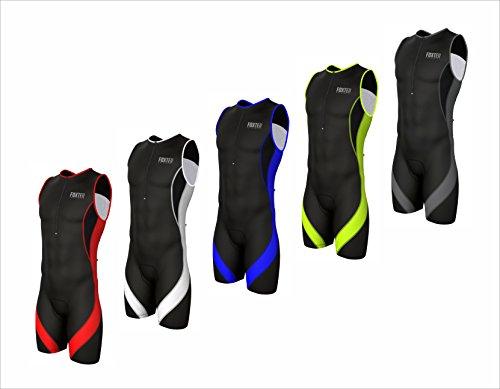 Traje de compresión de triatlón deportivo para hombre para ciclismo, maratón, natación, de Foxter, Black/Neon Green, Small