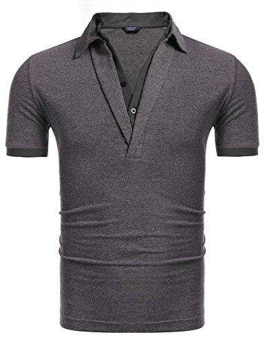Coofandy Herren Poloshirts Polohemd Slim Fit Kurzarm Sommer Freizeit Sport 2 in 7 shirt T-shirt...