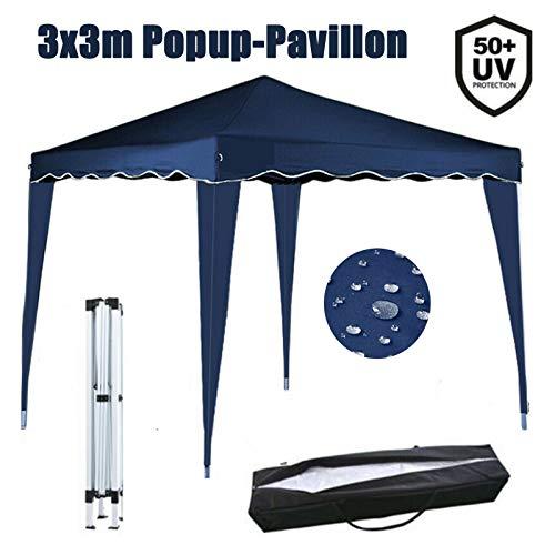 Huini 3x3m Pavillon Pop-Up Faltpavillon (Ohne Seitentei) Garten Party Zelt UV-Schutz 50+ Wasserdicht Robust Rahmen inkl.Tasche -Blau