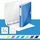 Leitz 42400036 Ringbuch Active WOW, A4, Polyfoam, 4 Ringe, 30 mm, blau