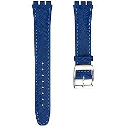 Echtleder Uhrenarmband von Geckota® hergestellt für Swatch Uhren mit Edelstahl Dornschließe, Blau, 17mm