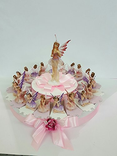 Torta bomboniere fatine battesimo comunione cresima promessa nascita compleanno completa di bigliettino da 20 fette ( 1 piano)