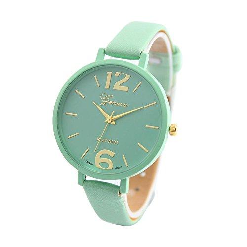 hin-Leder-Band Net Farbe elegante Armbanduhr- Minzgrün ()