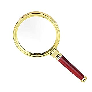 ATR 15X Handheld Magnifier with High Definition, High Recognition, Suitable for Reading Senior Books, Jewelry Marking, Home Office, Experimental Application, Gold, 60 mm